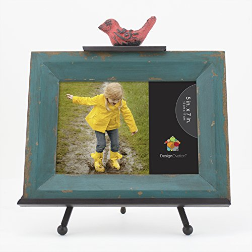 DesignOvation 209460 Dark Teal with Red Bird Cardinal Picture Frame and Metal Easel, 5