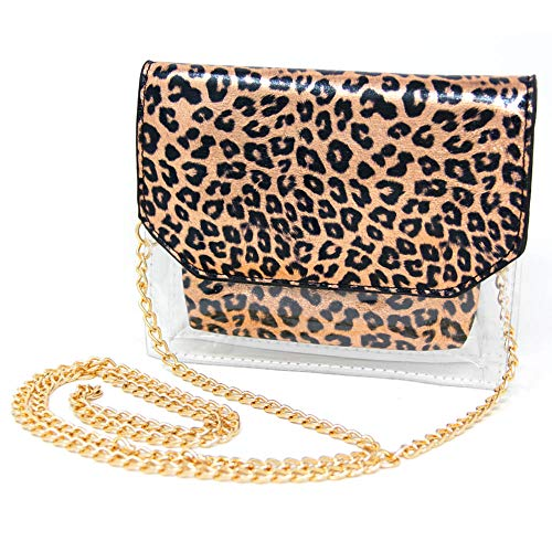 Me Plus Women Fashion 2 Pieces Set Clear PVC Leopard Print Cross Body Clutch Pouch Bag (Leopard-Rose -