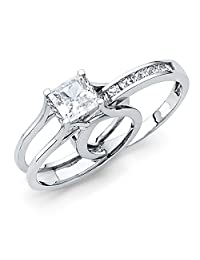 .925 Sterling Silver Rhodium Plated Engagement Ring and Wedding Band 2 Piece Set