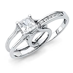 Size 4 - Solid 14k White Gold Bridal Set Princess Cut Solitaire Engagement Ring with Matching Channel Set Wedding Band, Authenticated with a 14k Stamp 2.0ct.