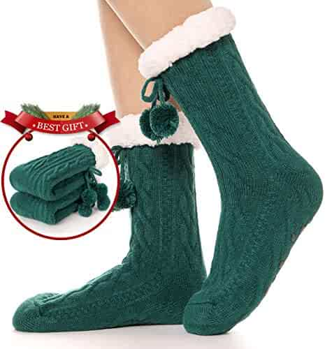 d5920f6c871 Womens Slipper Socks Fuzzy Warm Thick Heavy Fleece lined Christmas Stockings  Fluffy Winter Socks With Grippers