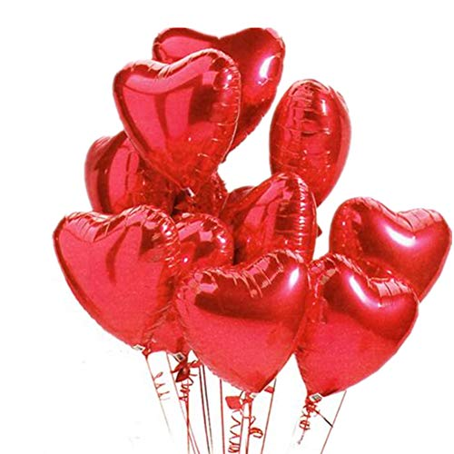 Ximkee 18 Inch Red Heart Foil Helium Balloons(10 PK) Valentines Day Wedding Engagement Decorations ()