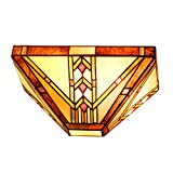 Tangkula Tiffany Style Wall Sconce - Stained Glass Lamp Shade with Iron Construction - Antique Style Wall Lamp - 12-inch Wide Stained Glass Lampshade - Suitable for Bedroom Living Room (Orange)