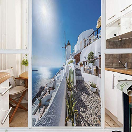 Decorative Window Film,No Glue Frosted Privacy Film,Stained Glass Door Film,Ancient Oia Village in Santorini Island Greece with Aegean Sea Scenery Image,for Home & Office,23.6In. by 78.7In Blue and Wh