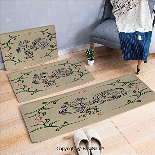 3 Piece Flannel Bath Carpet Non Slip Rooster and Floral Art Decorative Clock Time Swirls Leaves Farm Animal Theme Decoration Front Door Mats Rugs for Home(W15.7xL23.6 by W19.6xL31.5 by W17.7xL53) ()