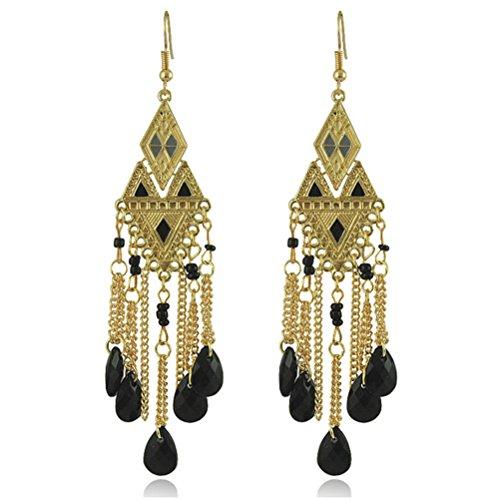 - SunIfSnow Women Classical Retro Long Tassel Italian Court Water Drops Carve Patterns Earrings