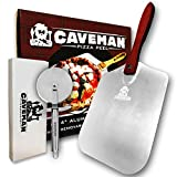 Caveman Products Aluminum Metal Pizza Peel - Folding Wood Handle for Easy Storage - 12''x 14'', Beveled Edge - Gourmet Pizza Paddle for Baking Homemade Pizza and Bread - FREE Pizza Cutter