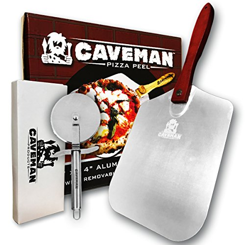 (Caveman Products Aluminum Metal Pizza Peel - Folding Wood Handle for Easy Storage - 12