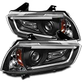 ZMAUTOPARTS Dodge Charger 4D LED DRL Bar Tube Projector Headlights Black Set New