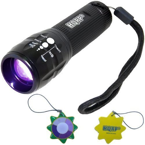 HQRP Profesional UV Flashlight 3W LED 390nm Wavelenght with Variable Focus for Arson Investigation/Detection / Inspection plus HQRP UV Meter