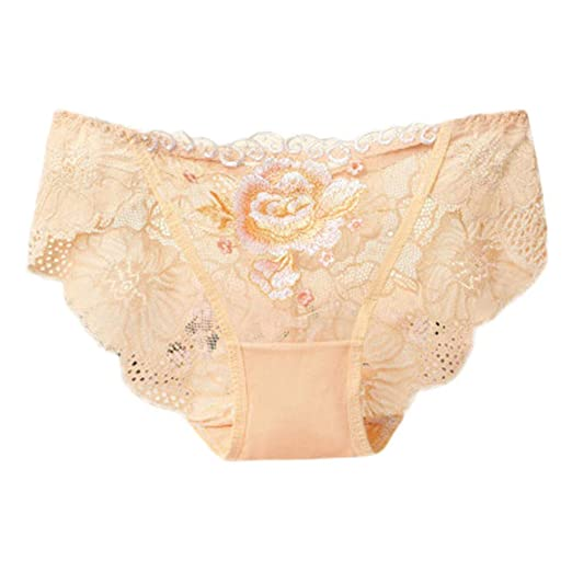19f92c7ec Amazon.com  Maonet 🎉🎉Big Promotion Sexy Women Lace Flowers Low Waist Underwear  Panties G-String Lingerie Thongs (Beige