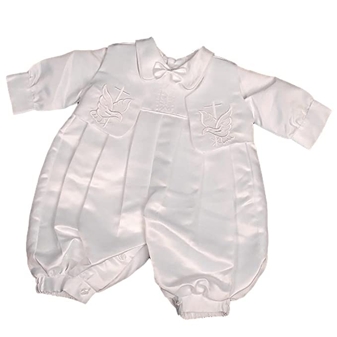 562544faa Lito Angels Baby Boy's Embroidered Cross Satin Baptism/Christening Romper  Formal Suit with Hat Infant