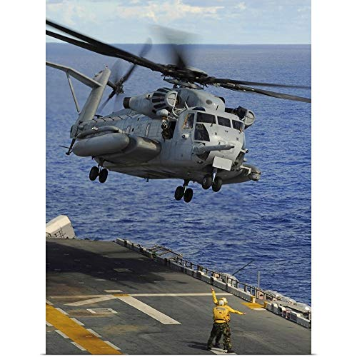 GREATBIGCANVAS Poster Print Entitled A CH 53E Sea Stallion Helicopter Takes Off from Amphibious Assault Ship USS Essex by Stocktrek Images 27