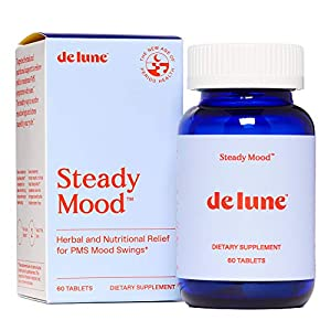 Gut Health Shop 51pEofze5JL._SS300_ De Lune, Steady Mood, Natural Relief for PMS Mood Swings and Stress, 60 Tablets