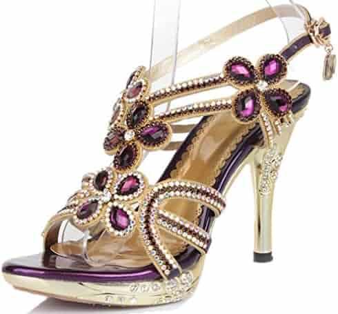 fd9932a4b8f30 YooPrettyz Leather Sparkle Platform Sandal Crystal Studs Sandal Strappy  Evening Wedding Heels