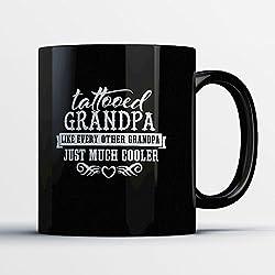Grandpa Coffee Mug - Tattooed Grandpa - Adorable 11 oz Black Ceramic Tea Cup - Cute Grandfather Gifts with Grandpa Sayings