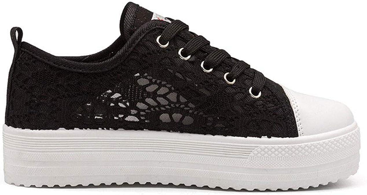 Chaussures Femme Plateforme ete Baskets Basse Sport Sneakers Plateau 3.8cm Noir Blanc 35 42