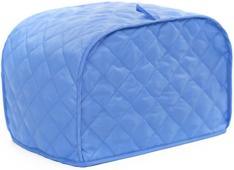 Toaster Cover, Polyester/Cotton Quilted Two Slice Toaster Appliance Cover,Dust and Fingerprint Protection, Machine Washable-2 YR Warranty (12W x 11D x 8.5H, Blue Polyester)