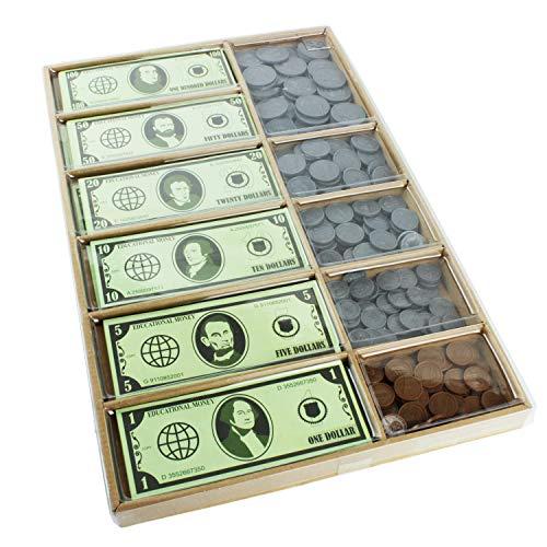 Boley Pretend/Imitation Play Money - Educational Toy Set to Teach Kids Basic Money Arithmetic Skills - 550 Piece Set