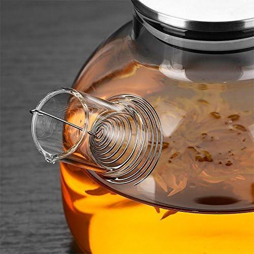 Bollitore Caraffa per acqua da 1800 ml, resistente vetro trasparente bollitore teiera caffè succo brocca con filtro inossidabile funzionale