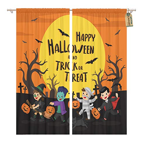 Golee Window Curtain Happy Halloween Children Dressed in Fancy Dress to Go Home Decor Rod Pocket Drapes 2 Panels Curtain 104 x 84 inches -