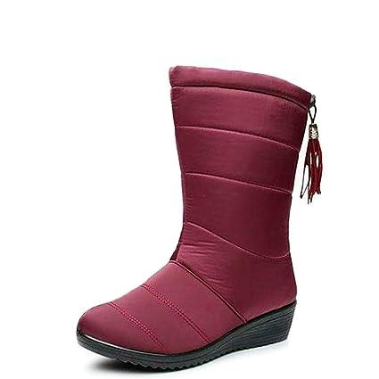 df90874d04df5 Amazon.com: DETAWIN Women Snow Boots Winter Waterproof Mid Heel Warm ...