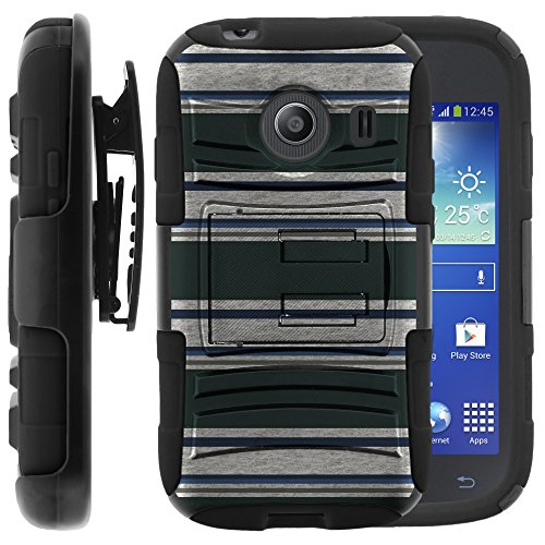 Samsung Galaxy Ace Style Case, Samsung Galaxy Ace Style Holster, Two Layer Hybrid Armor Hard Cover with Built in Kickstand for Samsung Galaxy Ace Style S765C SM-G310 from MINITURTLE | Includes Screen Protector - Blue Green Stripes
