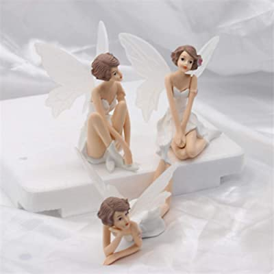 EORTA Set of 3 Cake Topper Decoration Cute Fairy with White Wing Miniature Figurine Display Ornament for Birthday Baby Shower Party or Fairy Garden Doll House, White: Toys & Games