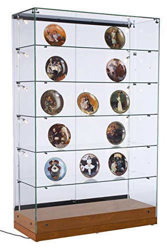 Displays2go Glass Curio Cabinetry for Retail Stores, LED Side Lighting, Tempered Glass Shelves, MDF Base – Cherry Wood Finish (GTEC48LEDC)
