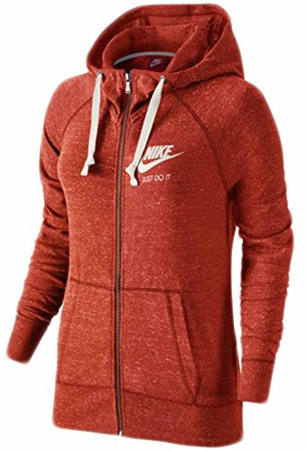 Nike Women's Gym Vintage Full_Zip Hoodie, Red 726057-696 Size L