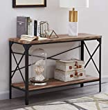 Homissue 2 Shelf Industrial Vintage Hall Sofa Table, RectangularConsole Sofa Entry Tablewith Lower Storage Shelf for Living Room, Hallway, Entryway, Brown Finish, 1-PC
