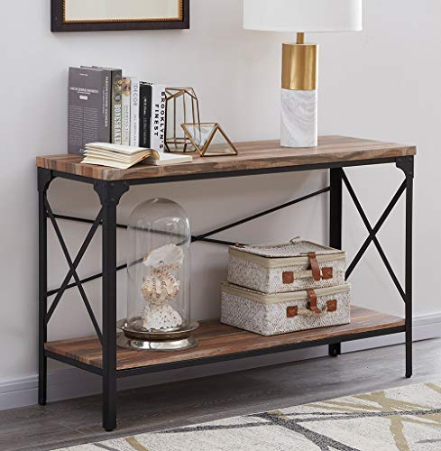Homissue 2 Shelf Industrial Vintage Hall Sofa Table, Rectangular Console Sofa Entry Table with Lower Storage Shelf for Living Room, Hallway, Entryway, Brown Finish, 1-PC ()