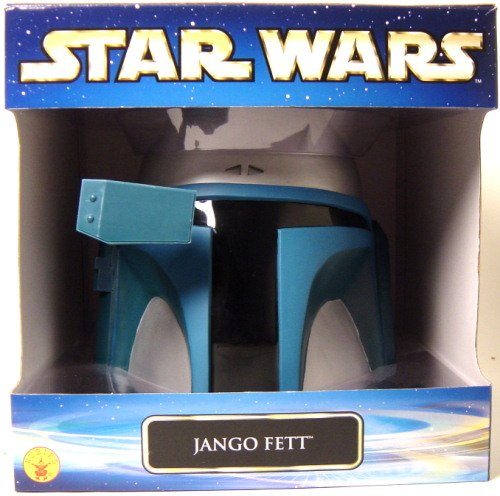 Jango Fett Mens Star Wars Collectors, Full Overhead One-Piece Adult Mask Helmet (Fett Helmet)