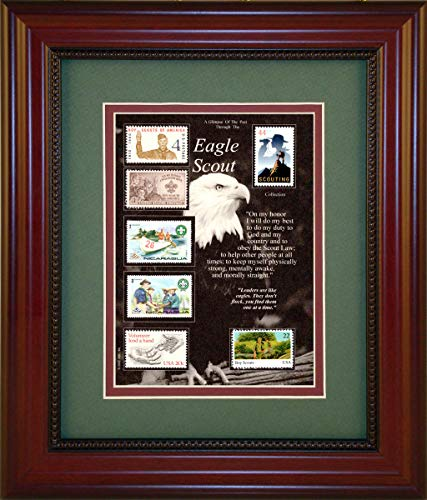 American Stamp Collectibles - American Stamp Art by Creative Framing Eagle Scout - Unique Framed Collectible (A Great Gift Idea)
