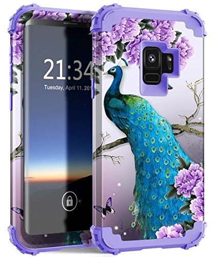 Galaxy S9 case,PIXIU Unique Hybrid Heavy Duty Shockproof Full-Body Protective Case with Dual Layer cases for Samsung Galaxy s9 5.8 inch 2018 released (Peafowl)