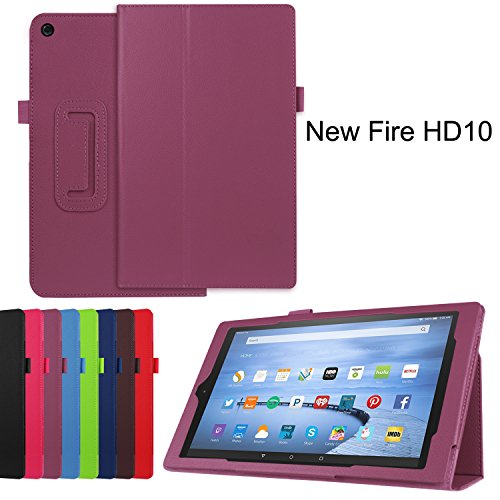 Photo - Fire HD 10 Case, Asstar Slim Fit Premium Premium Folio Leather Case Cover for 2015 Release Amazon Fire HD 10 Tablet 5th Generation with Auto Wake Sleep Feature and Stylus Holder (Purple)