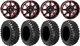 Bundle - 9 Items: STI HD6 14'' Wheels Red/Black 28'' Kanati Mongrel Tires [4x156 Bolt Pattern 12mmx1.5 Lug Kit]