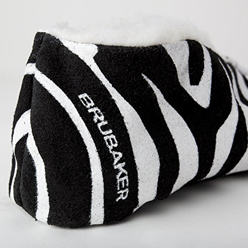 Brubaker - Pantuflas de cuero unisex negro/blanco