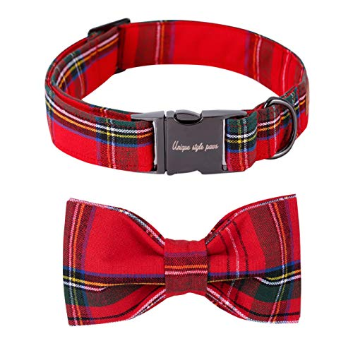 Unique style paws USP Christmas Adjustable Handmade Bowtie Dog and Cat Collar Pet Gift for Mediume Dogs and Cats