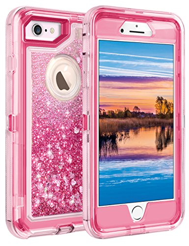 "iPhone 6S Plus Case, iPhone 6 Plus Case, Coolden Glitter Cute Phone Case Girls Bling Sparkle Dual Layer Shockproof Liquid Case with Hard PC Bumper + Soft TPU Back for 5.5"" iPhone 6/6S/7/8 Plus – Pink"