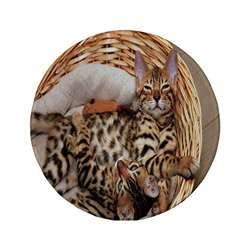 Non-Slip Rubber Round Mouse Pad,Kitten,Little Bengal Cats in Basket Cuddly Purebred Kitties Domestic Feline,Brown Light Brown Beige,11.8