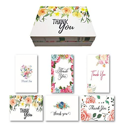 Custom Stationery - D SERIES Blank Floral Thank You Cards with Envelopes and 48 Matching Stickers for Bridal Shower, Wedding, Baby, Teacher - Cute Rustic Boho Floral Watercolor Custom Stationery Note Set (36 Pack)