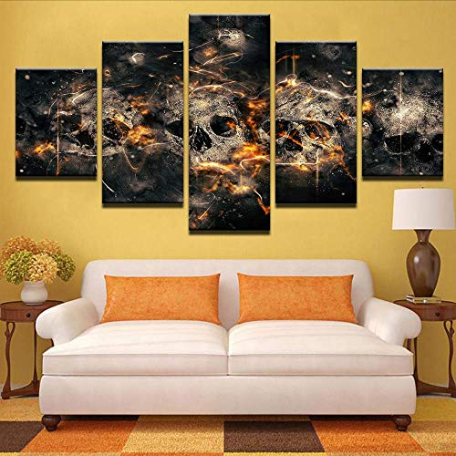 Fbhfbh Wall Art Canvas Painting Hd Prints Living Room Modern Home Decor Skull 5 Pieces Movie Modular Picture Pictures Artwork Poster,8 X 14/18/22Inch,with -