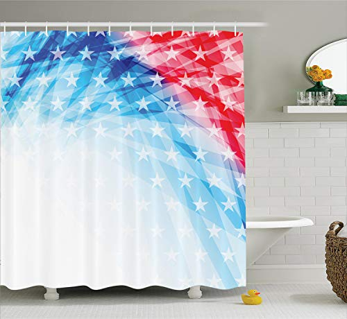 Ambesonne American Decor Collection, United States of America National Flag Sketch with State Stars White Stripe Theme, Polyester Fabric Bathroom Shower Curtain Set with Hooks, Blue Red