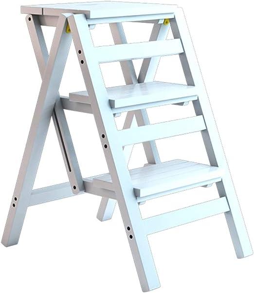 Silla Plegable de bambú de la Escalera de la Silla de la Escalera/de la Escalera de la Moda del Taburete de 3 Pasos para la Biblioteca casera, Blanca: Amazon.es: Hogar