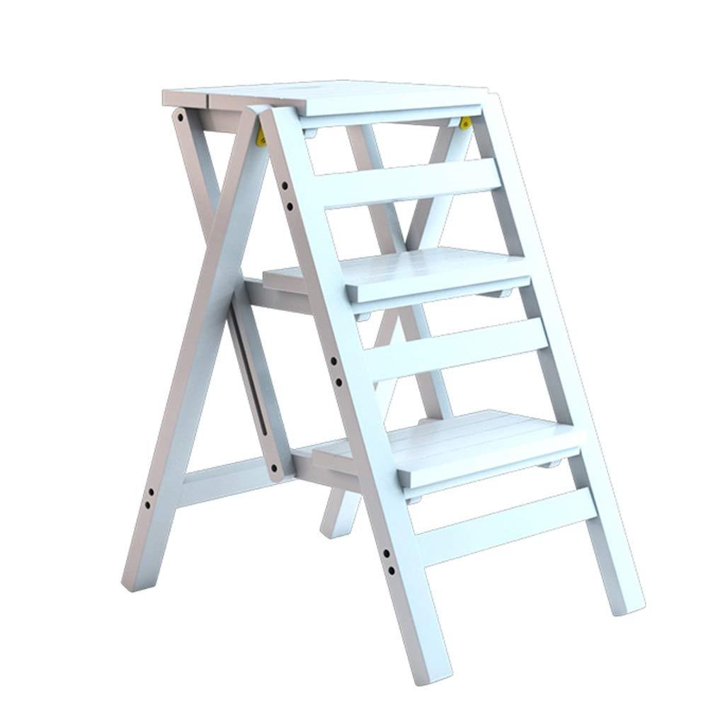 3ステップスツールファッション竹折りたたみチェアホームライブラリ、白のための多機能踏み台/階段の椅子 B07KT3G1YQ
