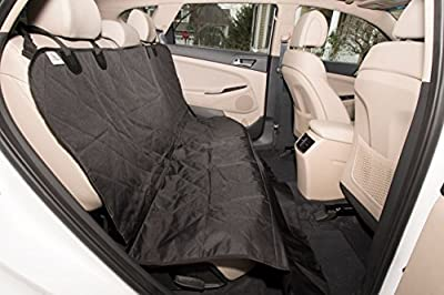 Smart Skippy Luxury Dog Seat Car Cover (Universal Size) Hammock Protects Against Shedding, Accidents, Sharp Nails and Drool - Quilted Top, Black, Non-Slip Bottom, Adjustable