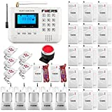 Fuers 433mhz LCD Display GSM Telephone Line Auto Dial Home and Business Burglar Alarm System APP Control Voice Prompt Intelligent Intruder Security System DIY Kit,Wireless Water Leak Detector