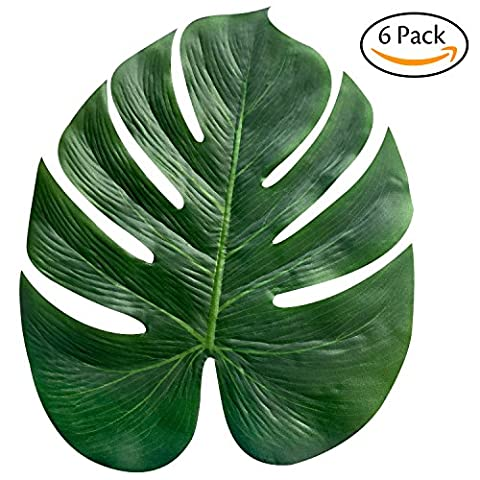 Hibery 6 Pack Palm Leaves & Imitation Plant Leaves& Artificial Tropical Leaves & Palm Fronds 13.8 Inch Hawaiian Party Jungle Beach Theme Decorations for Birthdays, Prom, Events, (Prom Themes)