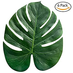 Hibery 6 Pack Palm Leaves & Imitation Plant Leaves& Artificial Tropical Leaves & Palm Fronds 13.8 Inch Hawaiian Party Jungle Beach Theme Decorations for Birthdays, Prom, Events, Weddings